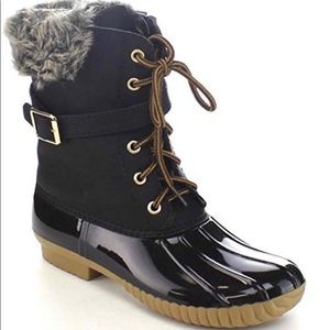 Faux Shearling Lace Up Rain Boot Black 8